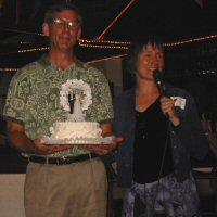 Larry and Jeanne with Wedding Cake
