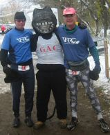 The Davidson boys, Tom and Anstr, with the Stone Cat after they finished the marathon