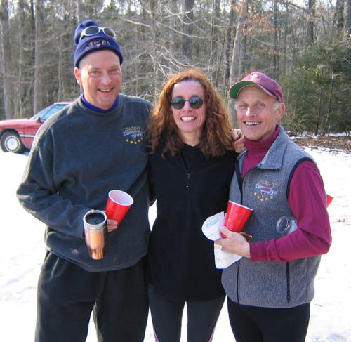 Brian McNiel, Linda Wack, and Gary Knipling at the post-run non-celebration