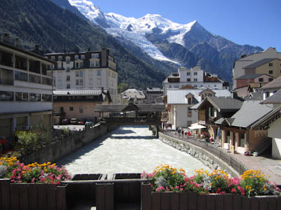 Mont Blanc, seen from the streets of Chamonix